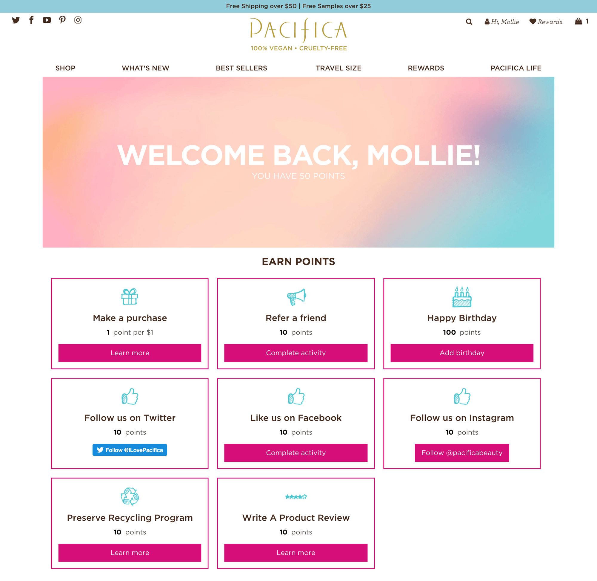 Pacifica Beauty loyalty program