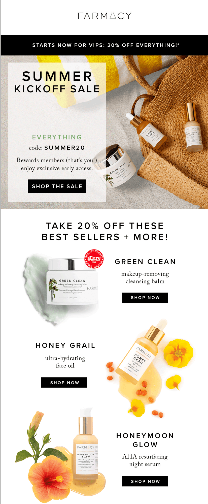 Farmacy Beauty Personalised Email