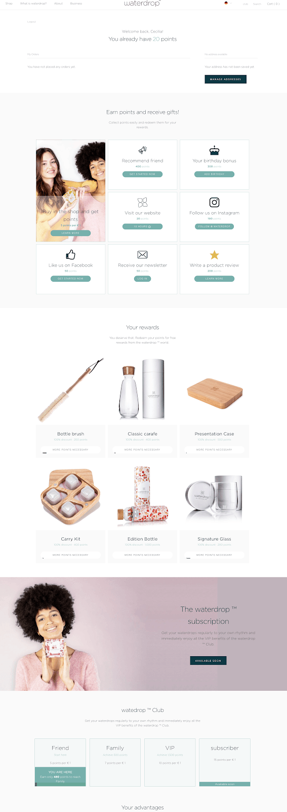 Waterdrop Integrated Page