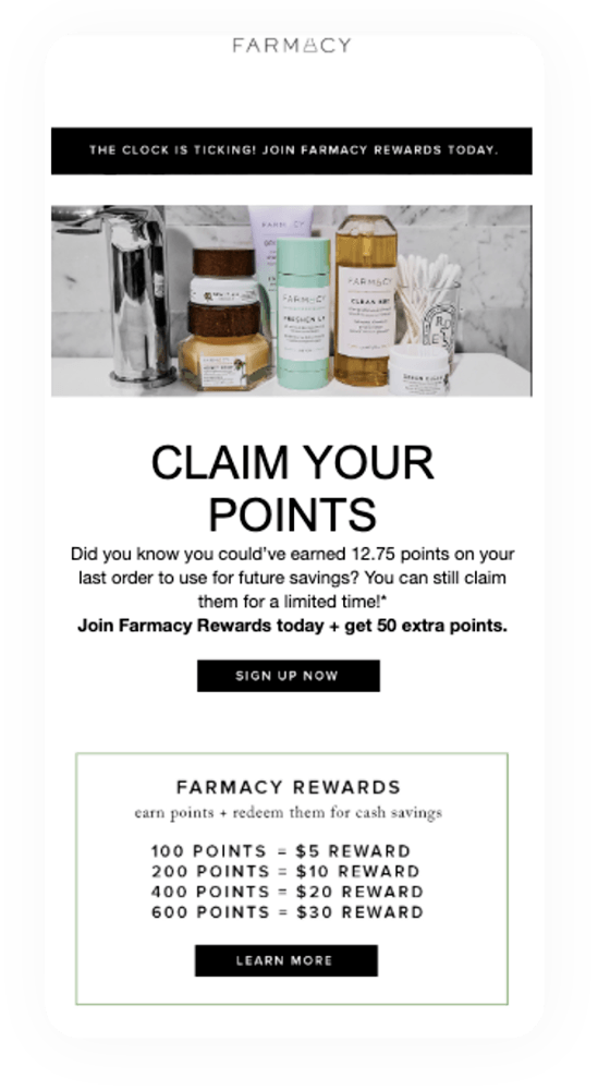 Farmacy loyalty email