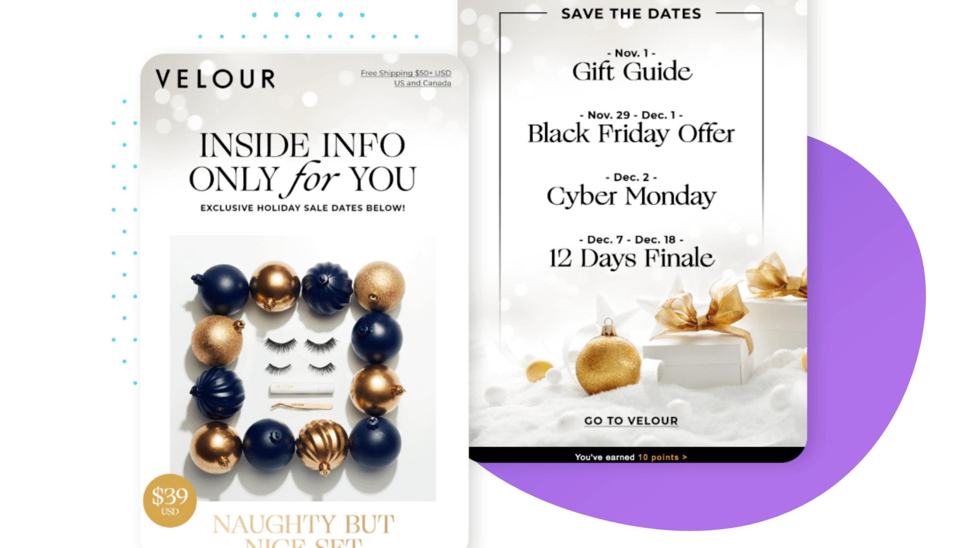 Velour Lashes Holiday Email Marketing Tips