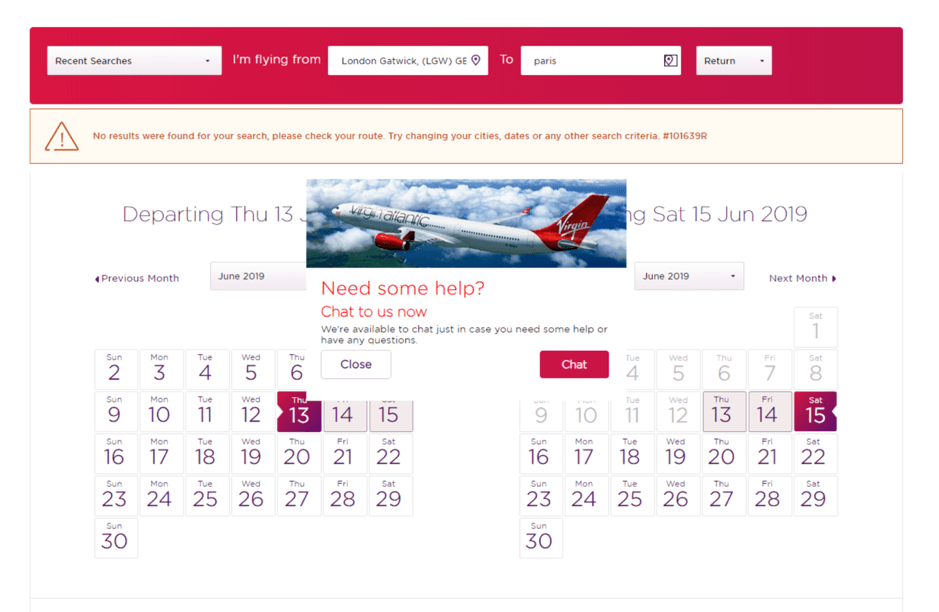 Virgin Atlantic Popup